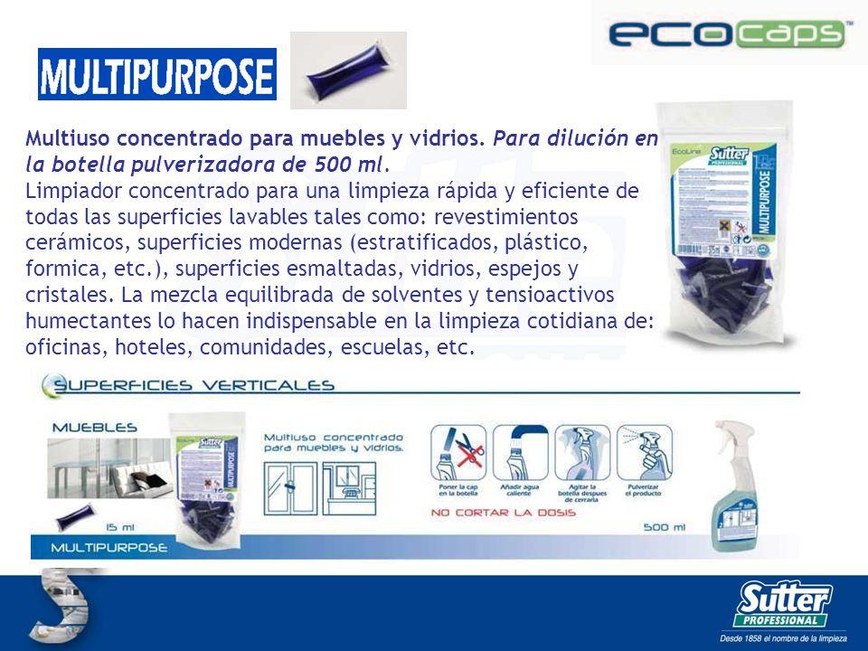 MULTIPURPOSE CAPS Multiuso concentrado para muebles y vidrios. Para dilución en la botella pulverizadora de 500 ml. Limpiador concentrado para una lim