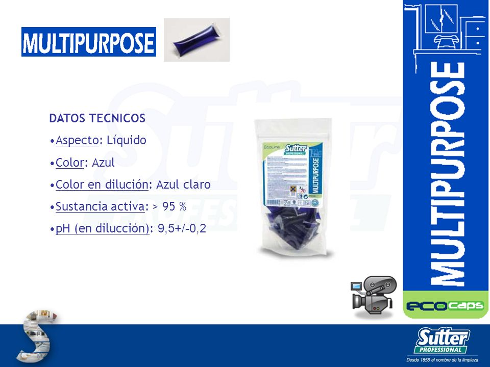 DATOS TECNICOS Aspecto: Líquido Color: Azul Color en dilución: Azul claro Sustancia activa: > 95 % pH (en dilucción): 9,5+/-0,2