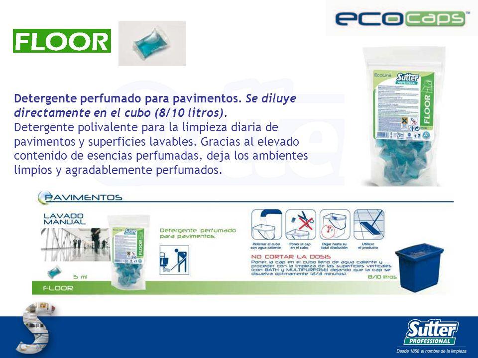 Detergente perfumado para pavimentos. Se diluye directamente en el cubo (8/10 litros). Detergente polivalente para la limpieza diaria de pavimentos y
