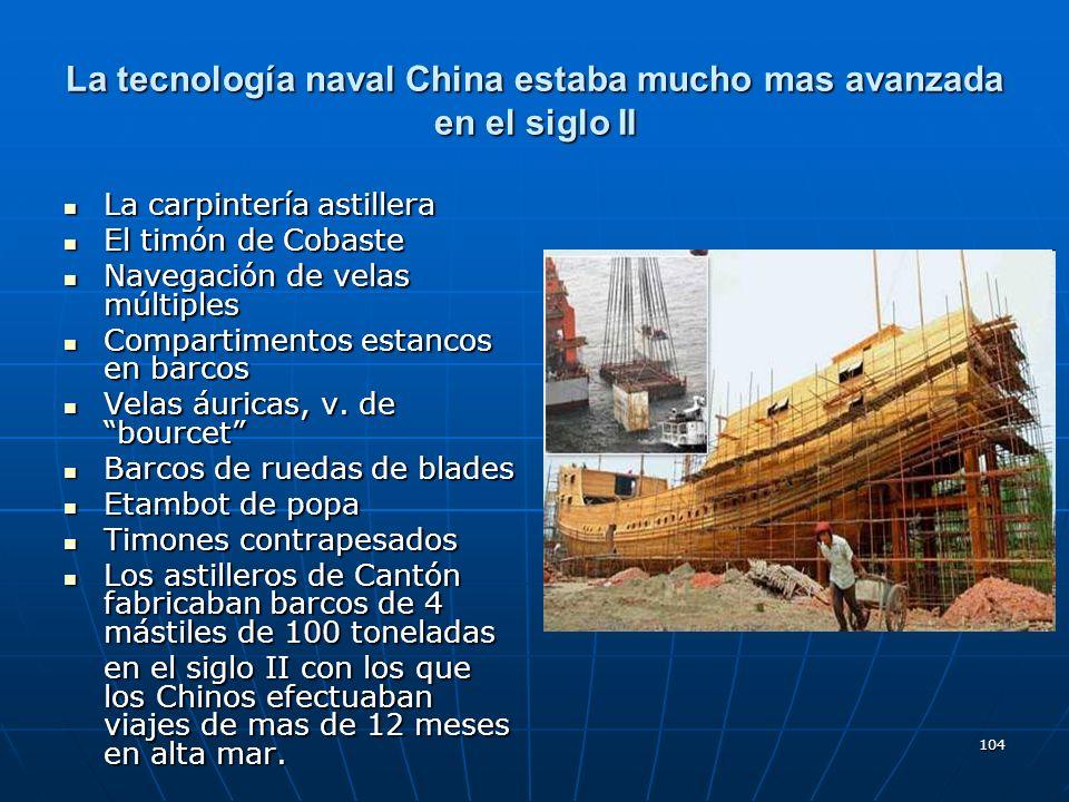 104 La tecnología naval China estaba mucho mas avanzada en el siglo II La carpintería astillera La carpintería astillera El timón de Cobaste El timón