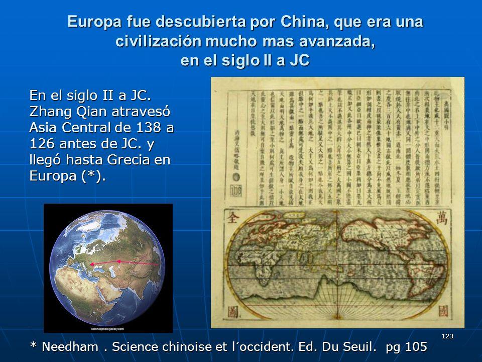 123 Europa fue descubierta por China, que era una civilización mucho mas avanzada, en el siglo II a JC En el siglo II a JC. Zhang Qian atravesó Asia C