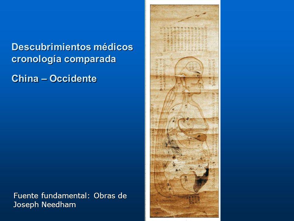 Descubrimientos médicos cronología comparada China – Occidente Fuente fundamental: Obras de Joseph Needham