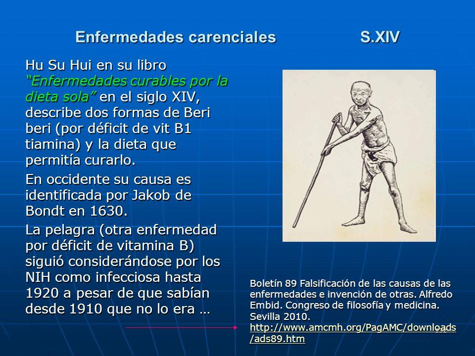 132 Enfermedades carencialesS.XIV Hu Su Hui en su libro Enfermedades curables por la dieta sola en el siglo XIV, describe dos formas de Beri beri (por