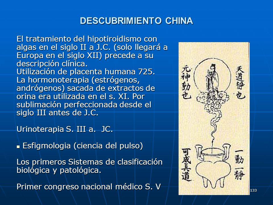 133 DESCUBRIMIENTO CHINA El tratamiento del hipotiroidismo con algas en el siglo II a J.C. (solo llegará a Europa en el siglo XII) precede a su descri