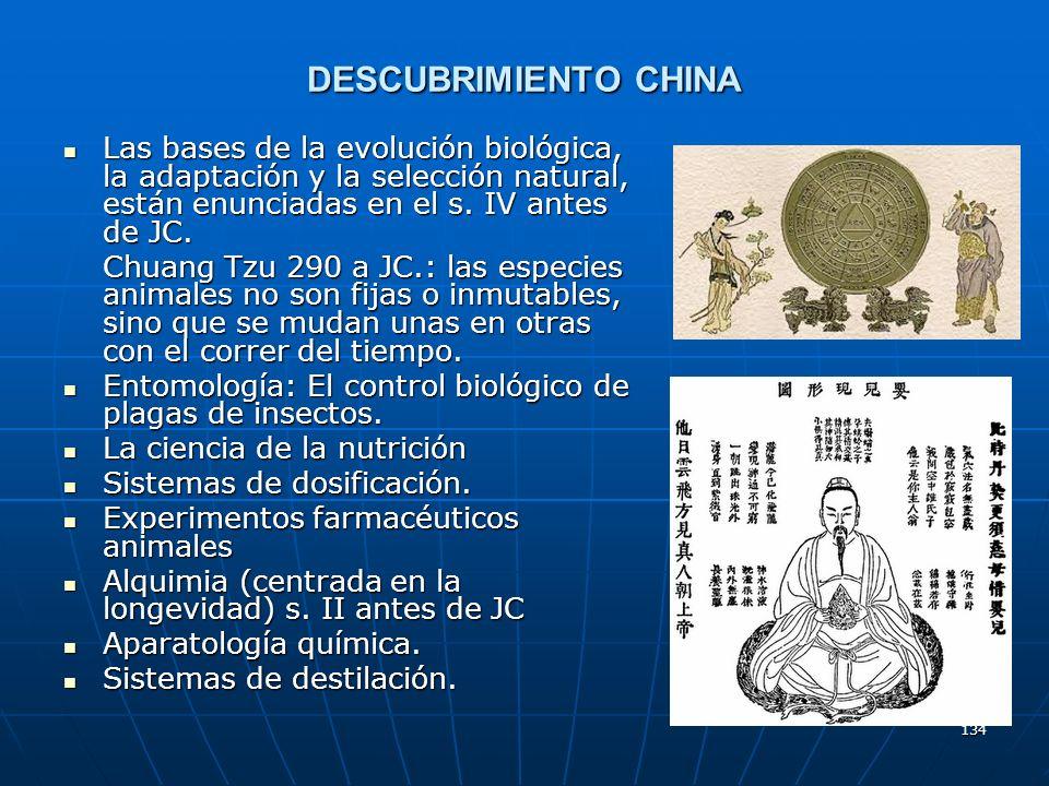 134 DESCUBRIMIENTO CHINA Las bases de la evolución biológica, la adaptación y la selección natural, están enunciadas en el s. IV antes de JC. Las base