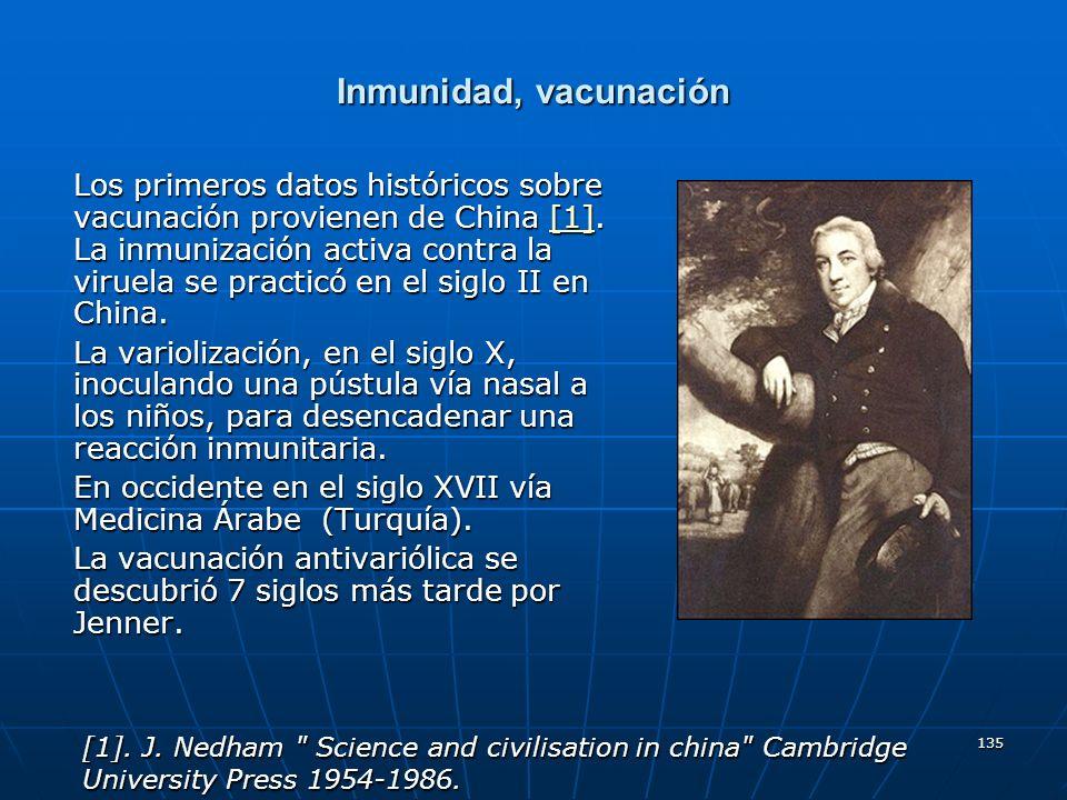 135 Inmunidad, vacunación Los primeros datos históricos sobre vacunación provienen de China [1]. La inmunización activa contra la viruela se practicó