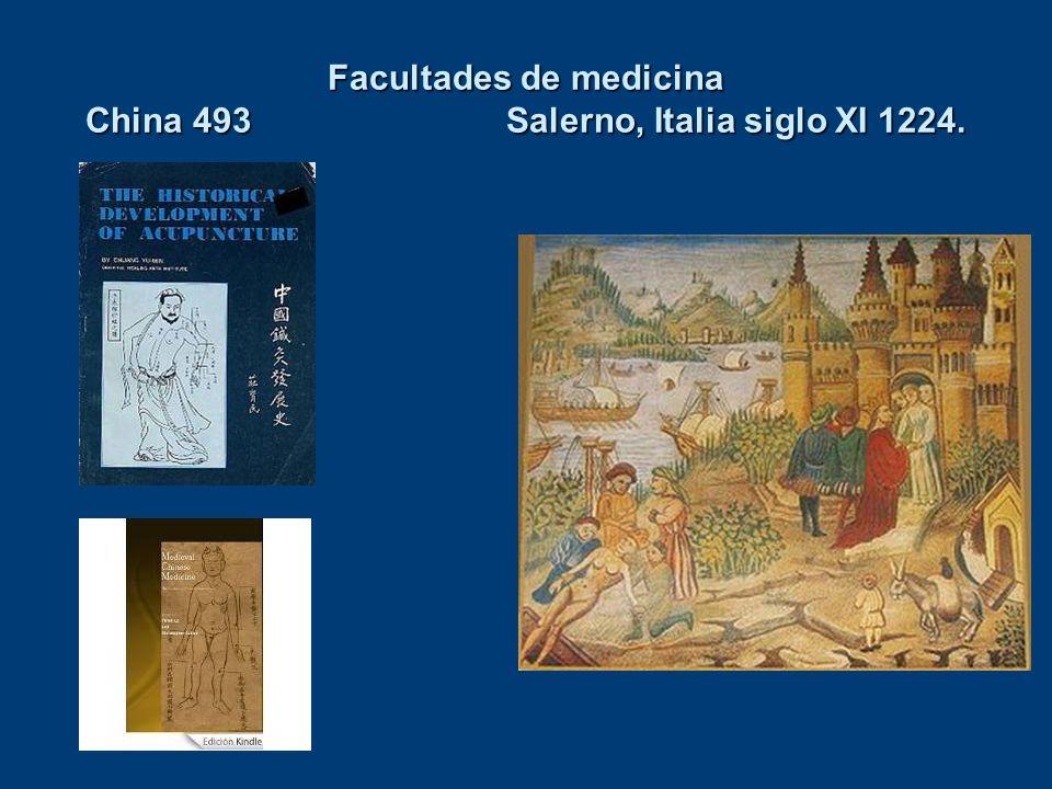 Facultades de medicina China 493Salerno, Italia siglo XI 1224.