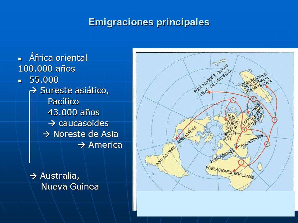 46 Emigraciones principales África oriental África oriental 100.000 años 55.000 55.000 Sureste asiático, Sureste asiático,Pacífico 43.000 años caucaso