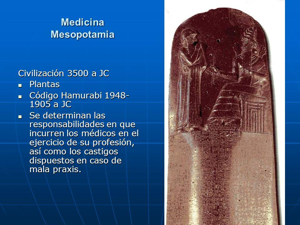 66 Medicina Mesopotamia Civilización 3500 a JC Plantas Plantas Código Hamurabi 1948- 1905 a JC Código Hamurabi 1948- 1905 a JC Se determinan las respo