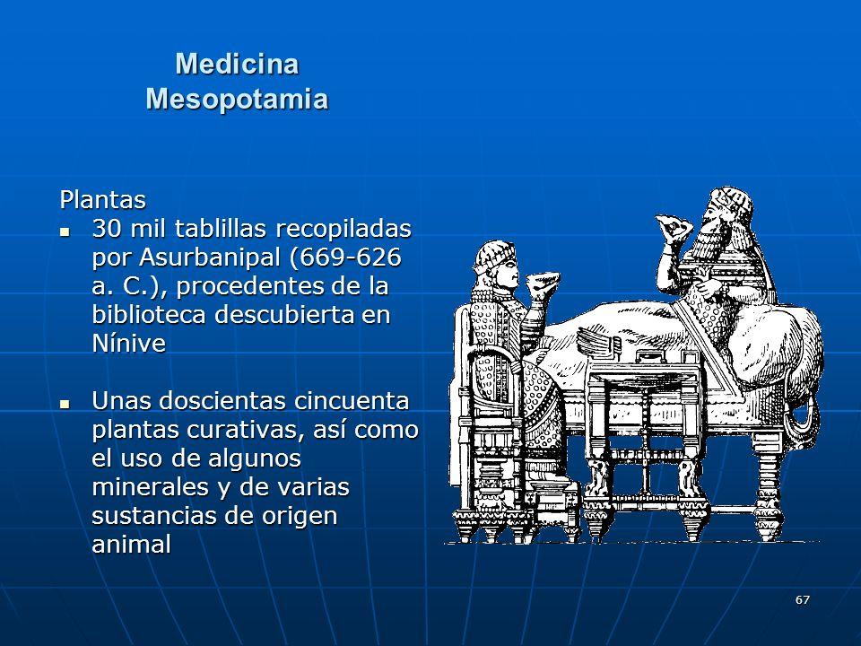 67 Medicina Mesopotamia Plantas 30 mil tablillas recopiladas por Asurbanipal (669-626 a. C.), procedentes de la biblioteca descubierta en Nínive 30 mi