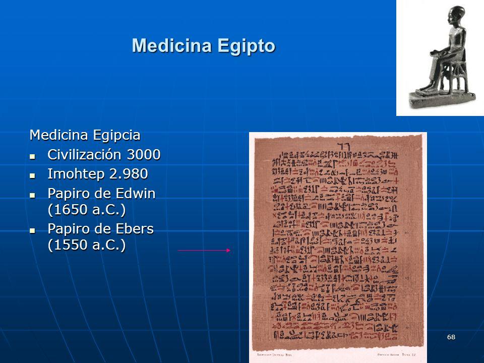 68 Medicina Egipto Medicina Egipcia Civilización 3000 Civilización 3000 Imohtep 2.980 Imohtep 2.980 Papiro de Edwin (1650 a.C.) Papiro de Edwin (1650