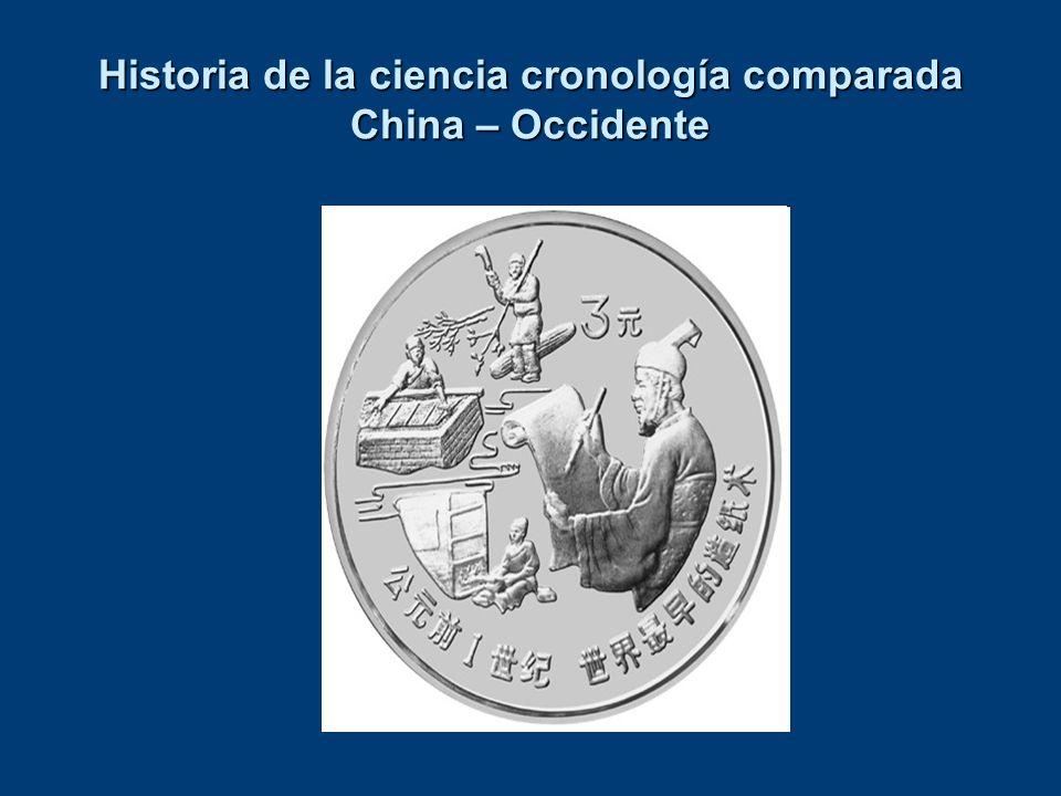 Historia de la ciencia cronología comparada China – Occidente