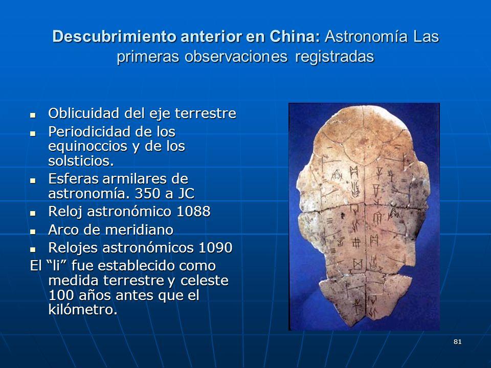81 Descubrimiento anterior en China: Astronomía Las primeras observaciones registradas Oblicuidad del eje terrestre Oblicuidad del eje terrestre Perio