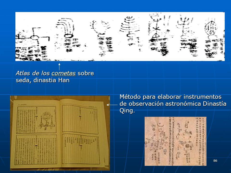 86 Atlas de los cometas sobre seda, dinastia Han cometas Método para elaborar instrumentos de observación astronómica Dinastía Qing.