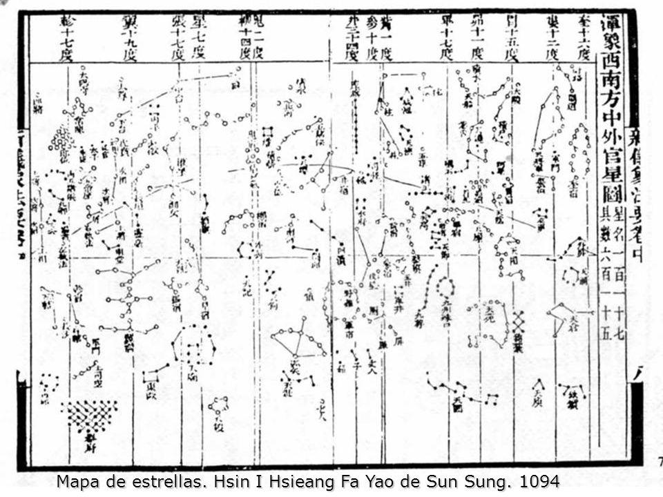 Mapa de estrellas. Hsin I Hsieang Fa Yao de Sun Sung. 1094