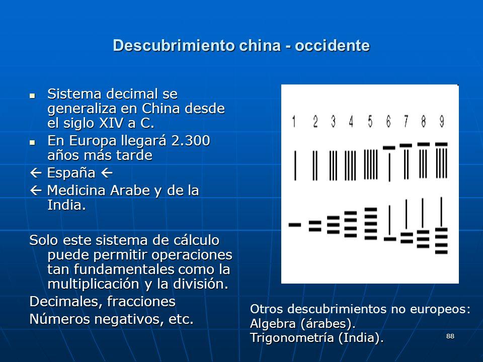 88 Descubrimiento china - occidente Sistema decimal se generaliza en China desde el siglo XIV a C. Sistema decimal se generaliza en China desde el sig