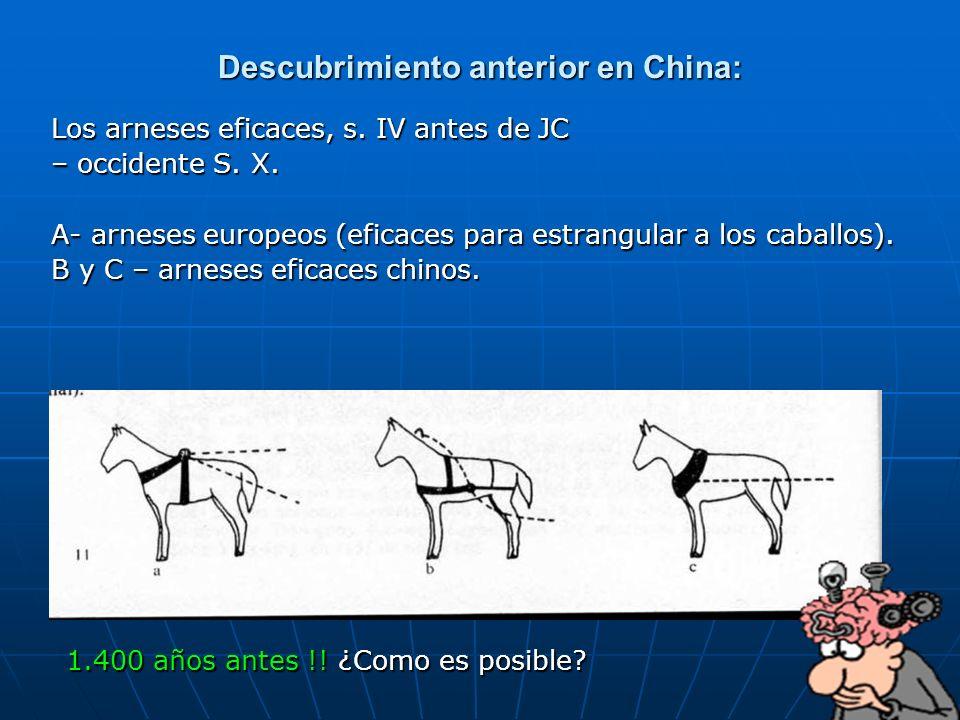 90 Descubrimiento anterior en China: Los arneses eficaces, s. IV antes de JC – occidente S. X. A- arneses europeos (eficaces para estrangular a los ca