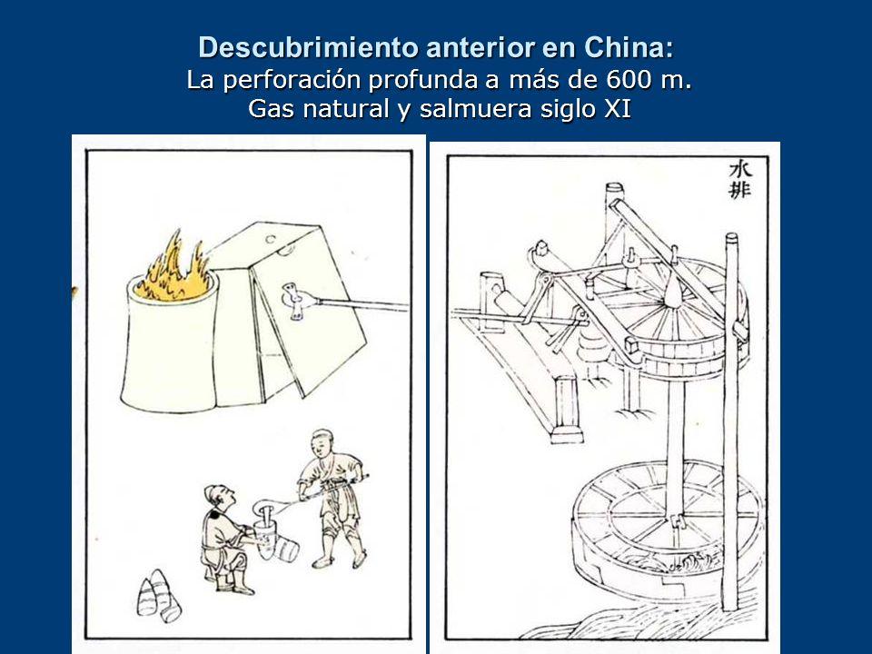 Descubrimiento anterior en China: La perforación profunda a más de 600 m. Gas natural y salmuera siglo XI