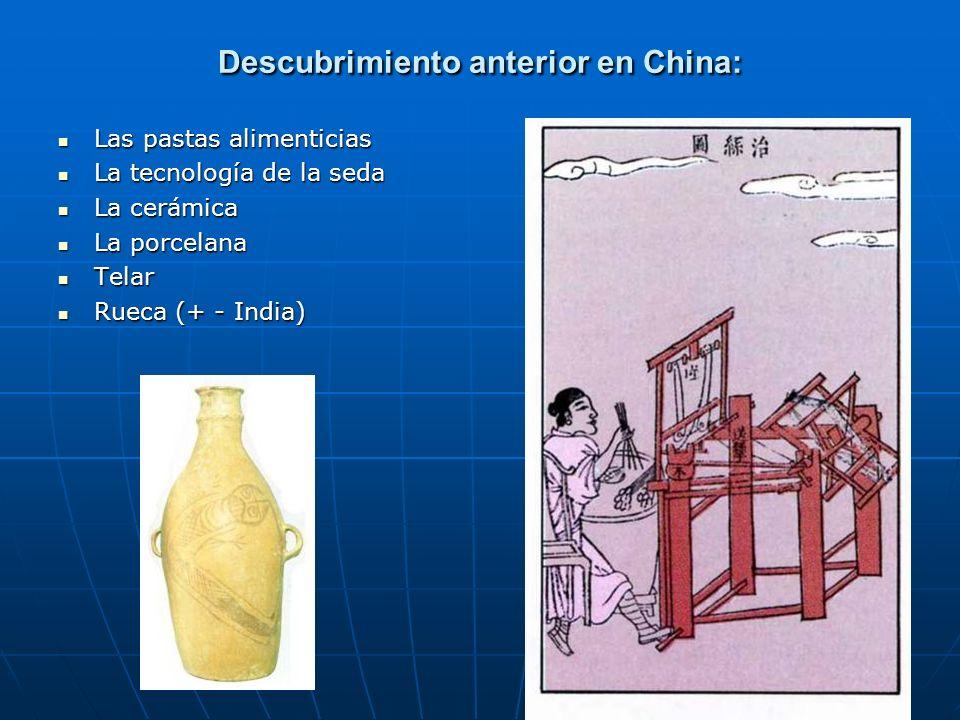98 Descubrimiento anterior en China: Las pastas alimenticias Las pastas alimenticias La tecnología de la seda La tecnología de la seda La cerámica La