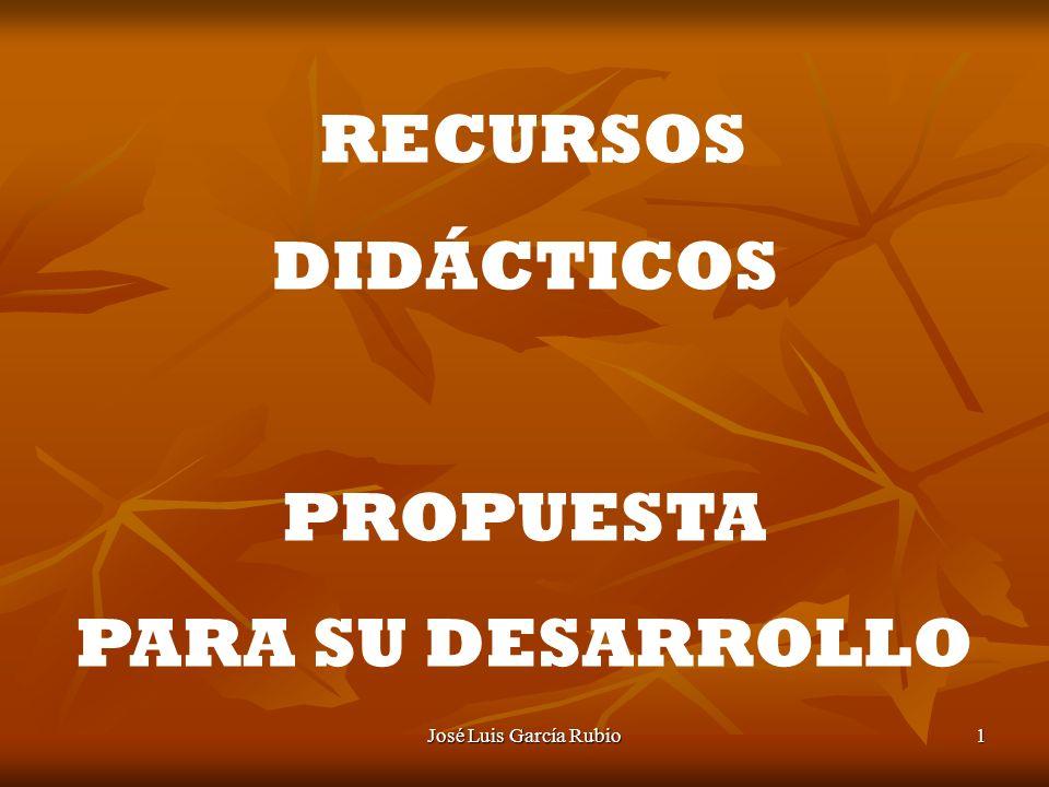 José Luis García Rubio1 RECURSOS DIDÁCTICOS PROPUESTA PARA SU DESARROLLO