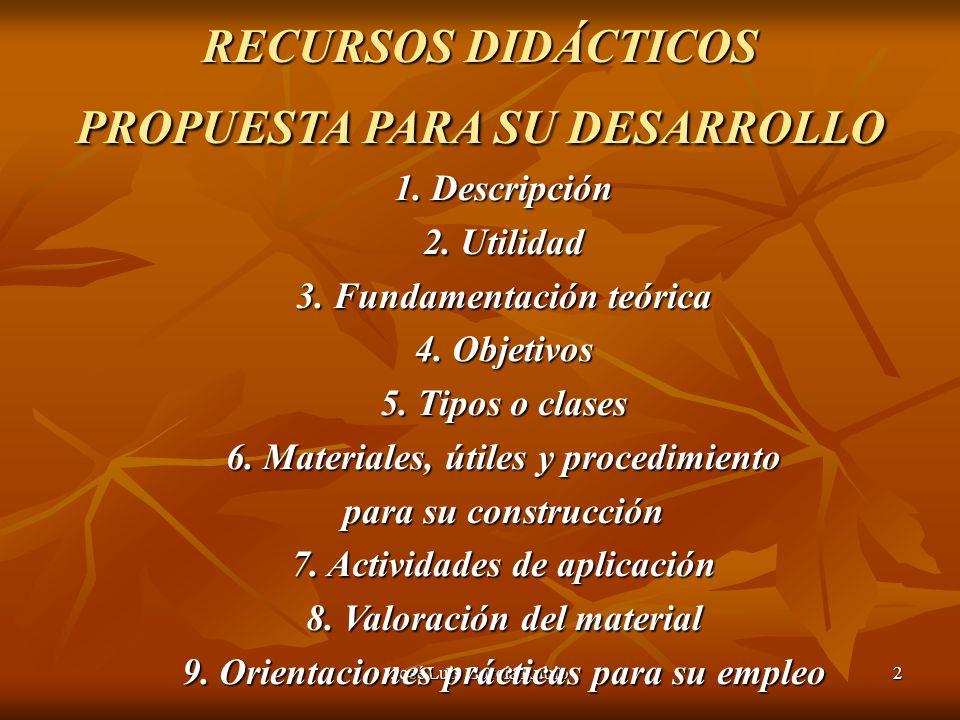 José Luis García Rubio2 RECURSOS DIDÁCTICOS PROPUESTA PARA SU DESARROLLO 1.