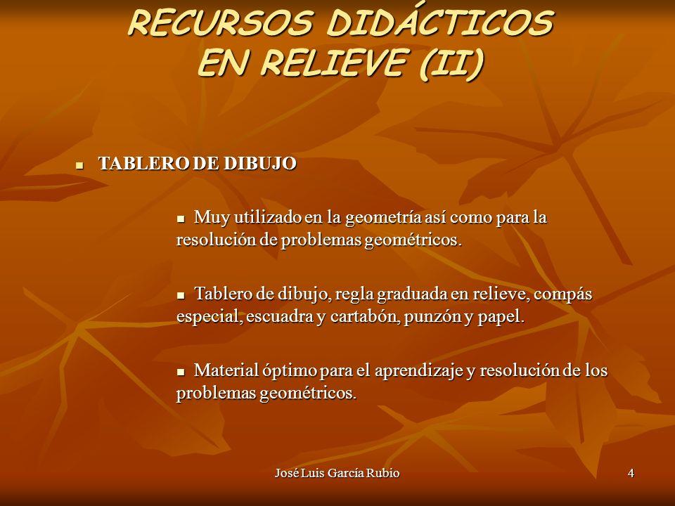 José Luis García Rubio4 RECURSOS DIDÁCTICOS EN RELIEVE (II) TABLERO DE DIBUJO TABLERO DE DIBUJO Muy utilizado en la geometría así como para la resolución de problemas geométricos.