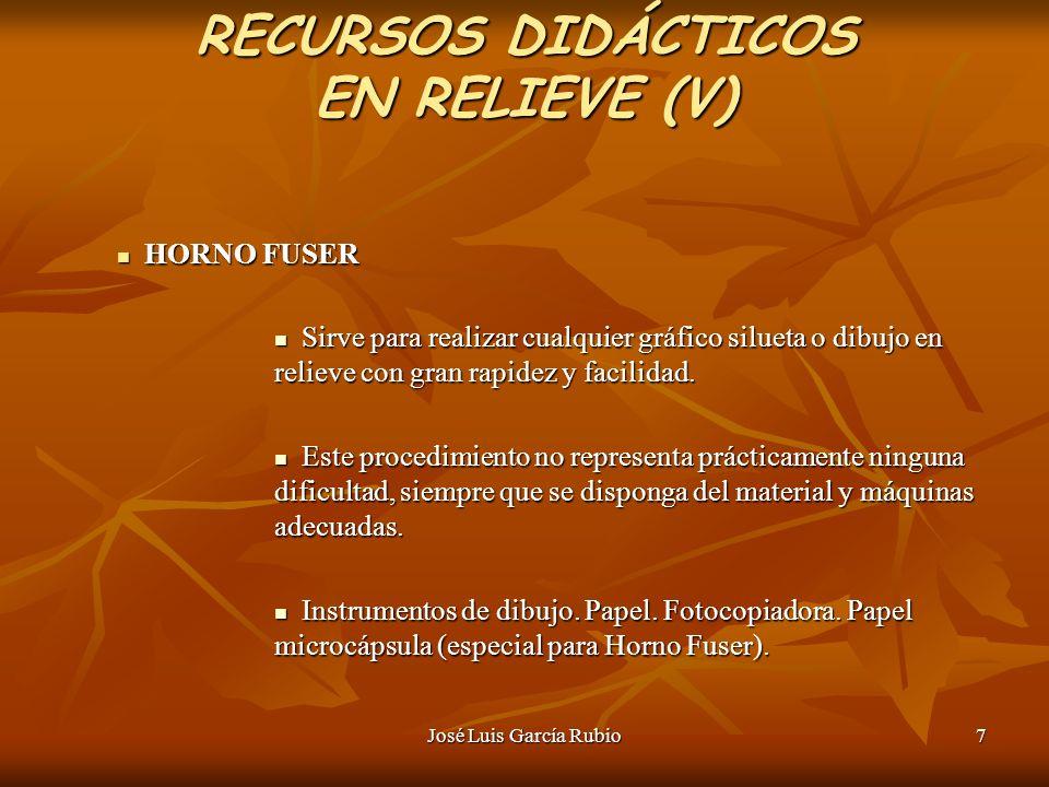 José Luis García Rubio7 RECURSOS DIDÁCTICOS EN RELIEVE (V) HORNO FUSER HORNO FUSER Sirve para realizar cualquier gráfico silueta o dibujo en relieve con gran rapidez y facilidad.