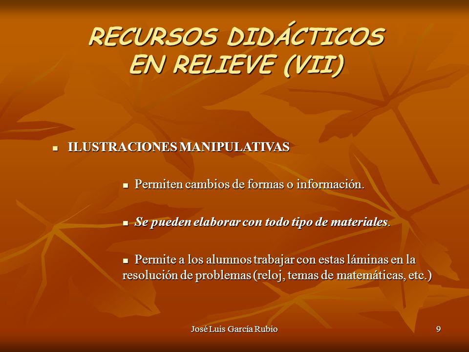 José Luis García Rubio9 RECURSOS DIDÁCTICOS EN RELIEVE (VII) ILUSTRACIONES MANIPULATIVAS ILUSTRACIONES MANIPULATIVAS Permiten cambios de formas o información.