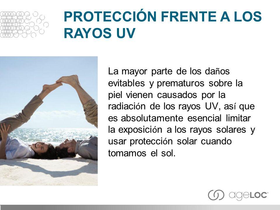 La mayor parte de los da ñ os evitables y prematuros sobre la piel vienen causados por la radiaci ó n de los rayos UV, as í que es absolutamente esenc