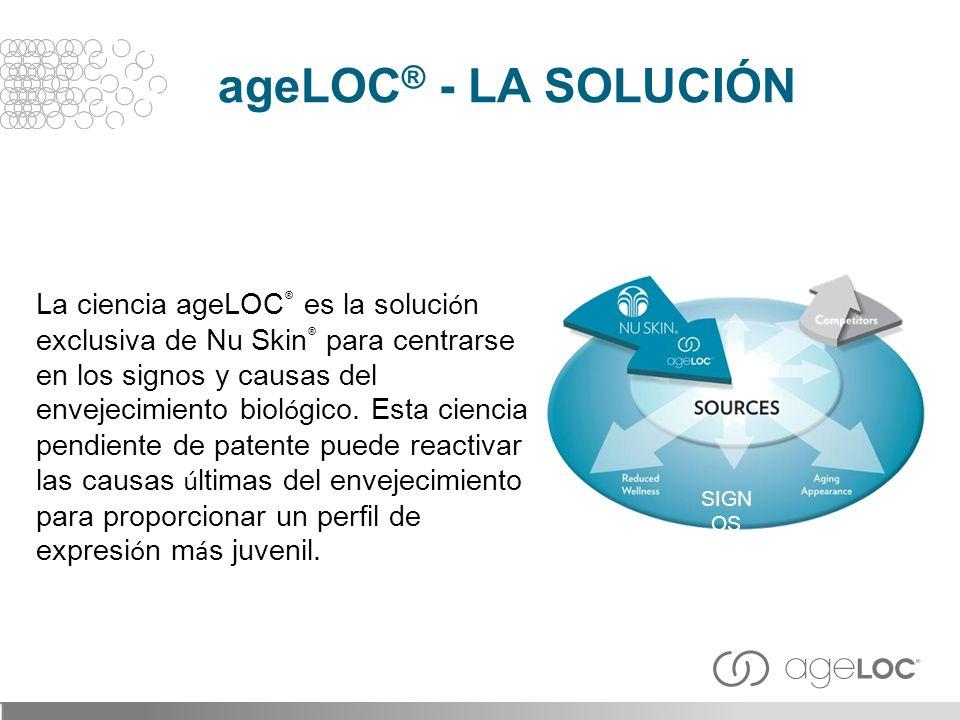 La ciencia ageLOC ® es la soluci ó n exclusiva de Nu Skin ® para centrarse en los signos y causas del envejecimiento biol ó gico. Esta ciencia pendien