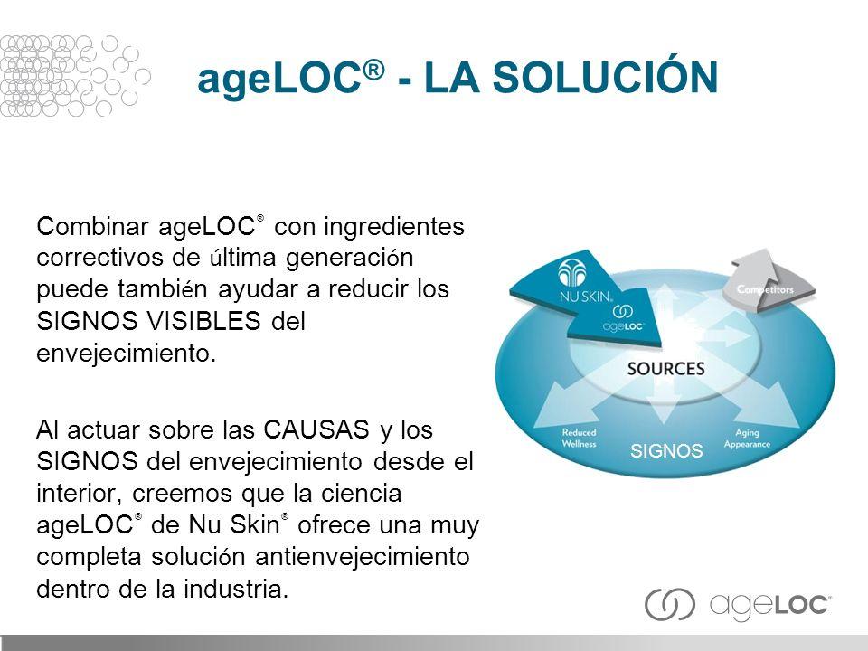 Combinar ageLOC ® con ingredientes correctivos de ú ltima generaci ó n puede tambi é n ayudar a reducir los SIGNOS VISIBLES del envejecimiento. Al act