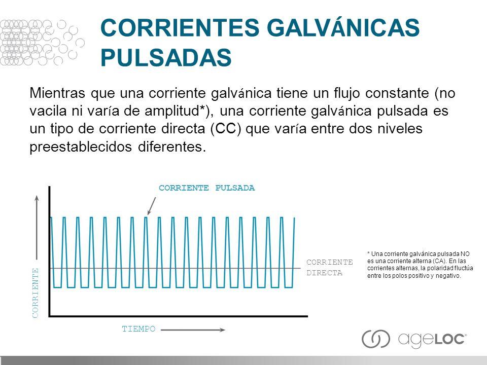 Mientras que una corriente galv á nica tiene un flujo constante (no vacila ni var í a de amplitud*), una corriente galv á nica pulsada es un tipo de c
