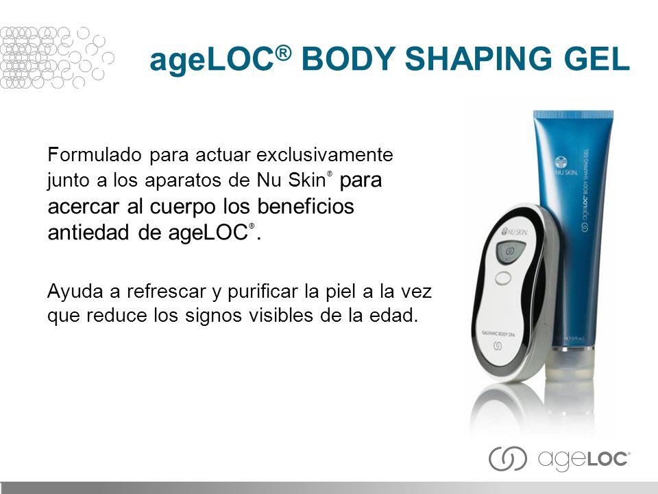 Formulado para actuar exclusivamente junto a los aparatos de Nu Skin ® para acercar al cuerpo los beneficios antiedad de ageLOC ®. Ayuda a refrescar y
