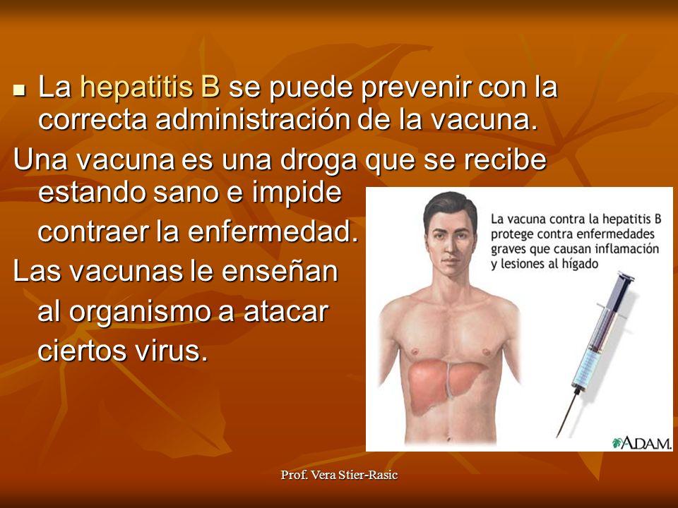 Prof. Vera Stier-Rasic La La hepatitis B se puede prevenir con la correcta administración de la vacuna. Una vacuna es una droga que se recibe estando