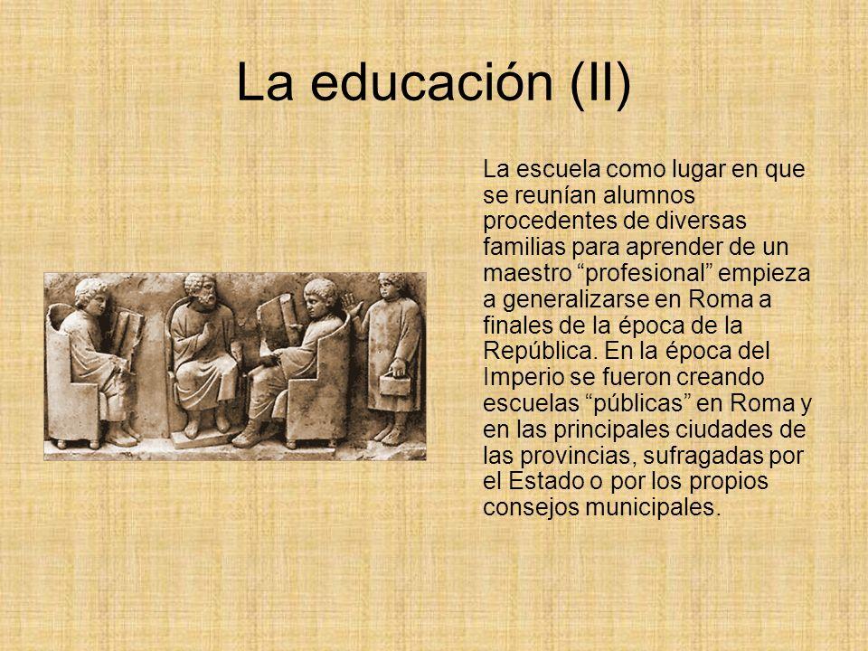 Niveles de enseñanza Había tres niveles en el sistema escolar romano: el ludus literarius, la escuela de gramática y la escuela de retórica.