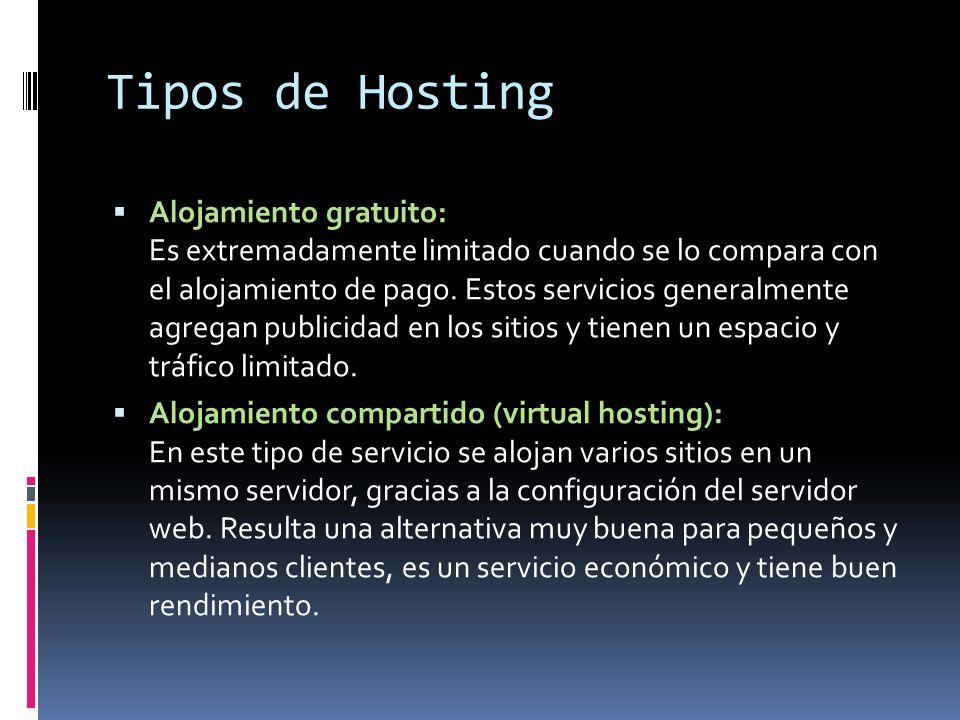 Tipos de Hosting Servidor virtual (VPS): Es un método de dividir un servidor físico en múltiples servidores virtuales, donde cada uno tiene la apariencia y capacidades de un servidor completo.