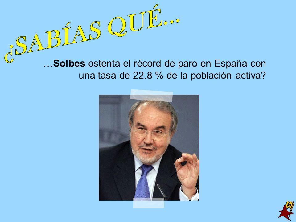 …Solbes ostenta el récord de paro en España con una tasa de 22.8 % de la población activa?