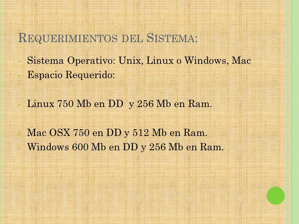 R EQUERIMIENTOS DEL S ISTEMA : Sistema Operativo: Unix, Linux o Windows, Mac Espacio Requerido: Linux 750 Mb en DD y 256 Mb en Ram. Mac OSX 750 en DD