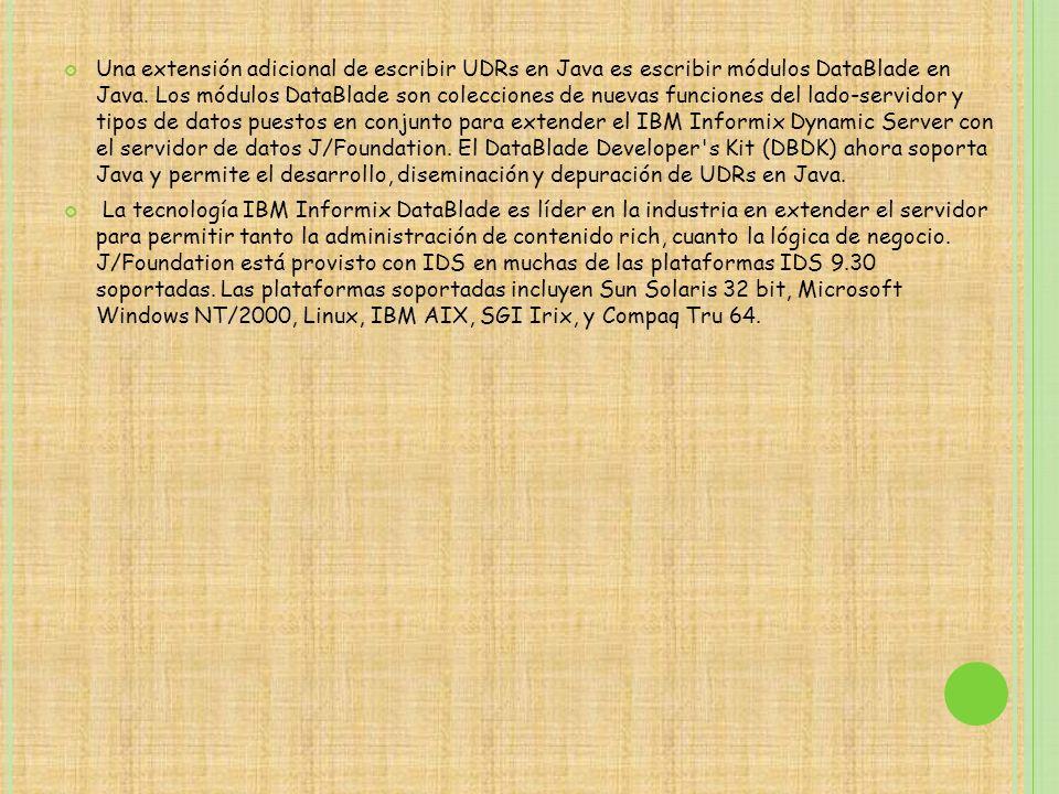 Una extensión adicional de escribir UDRs en Java es escribir módulos DataBlade en Java. Los módulos DataBlade son colecciones de nuevas funciones del