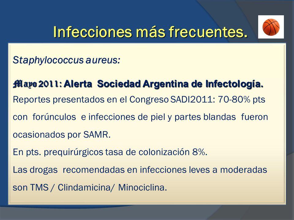 Infecciones más frecuentes. Staphylococcus aureus: Mayo 2011: Alerta Sociedad Argentina de Infectología. Reportes presentados en el Congreso SADI2011: