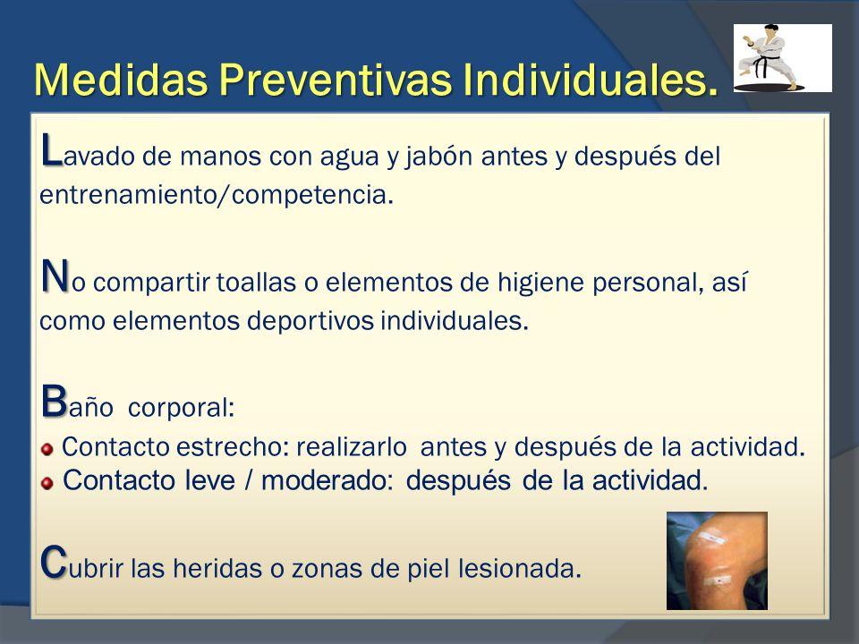 Medidas Preventivas Individuales. L L avado de manos con agua y jabón antes y después del entrenamiento/competencia. N N o compartir toallas o element