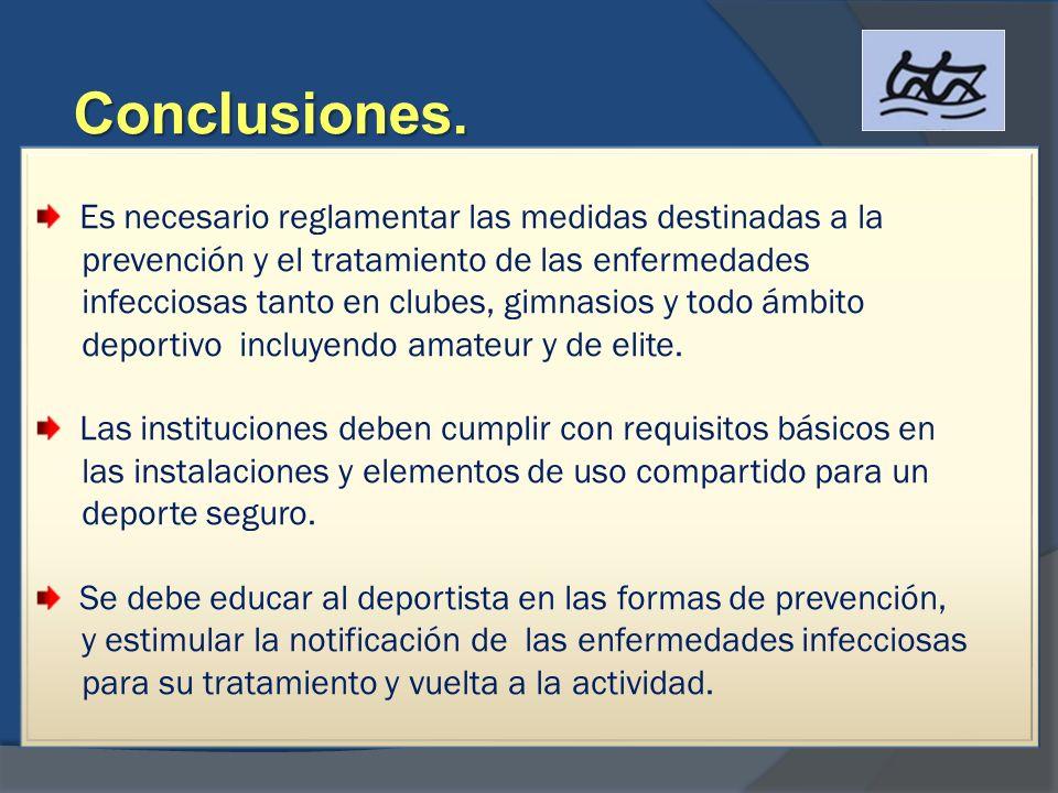 Conclusiones. Es necesario reglamentar las medidas destinadas a la prevención y el tratamiento de las enfermedades infecciosas tanto en clubes, gimnas