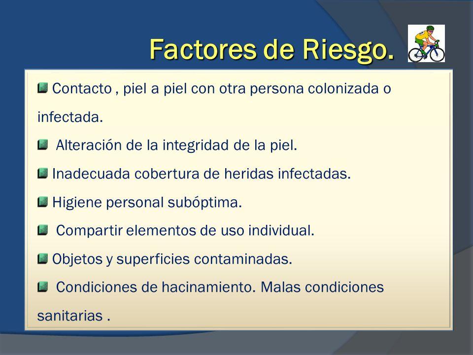 Factores de Riesgo. Contacto, piel a piel con otra persona colonizada o infectada. Alteración de la integridad de la piel. Inadecuada cobertura de her