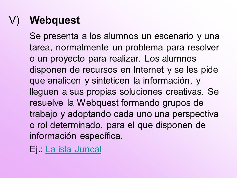 V) Webquest Se presenta a los alumnos un escenario y una tarea, normalmente un problema para resolver o un proyecto para realizar.