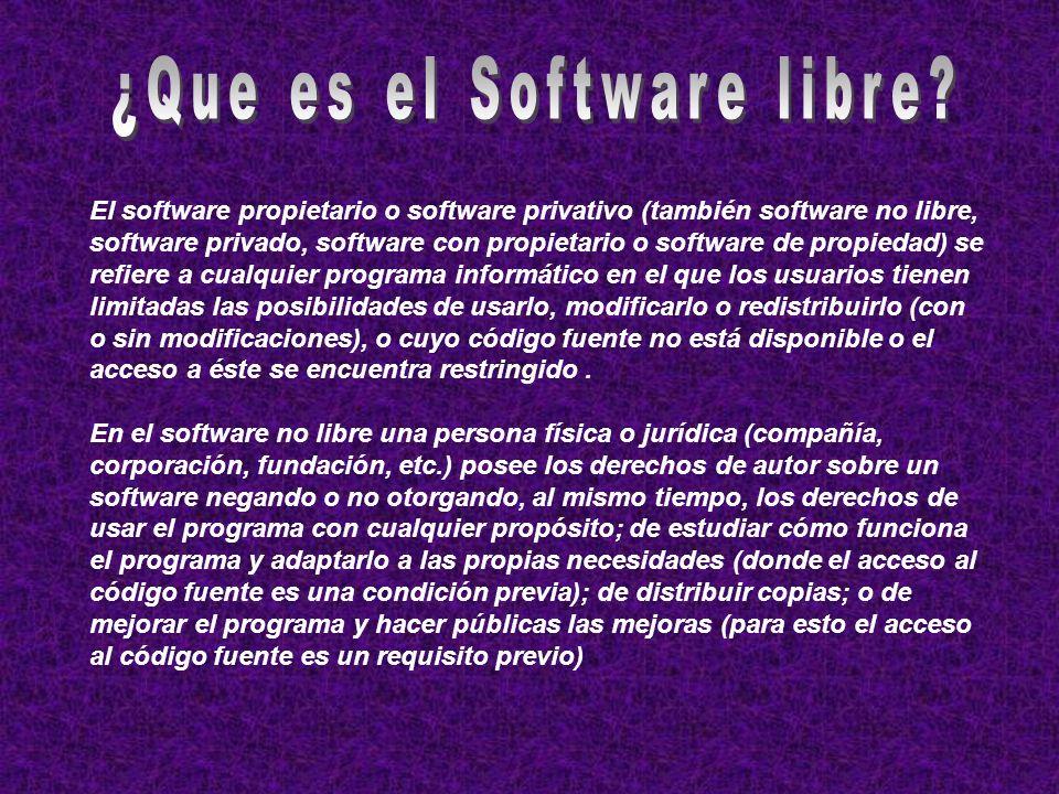 El software propietario o software privativo (también software no libre, software privado, software con propietario o software de propiedad) se refier