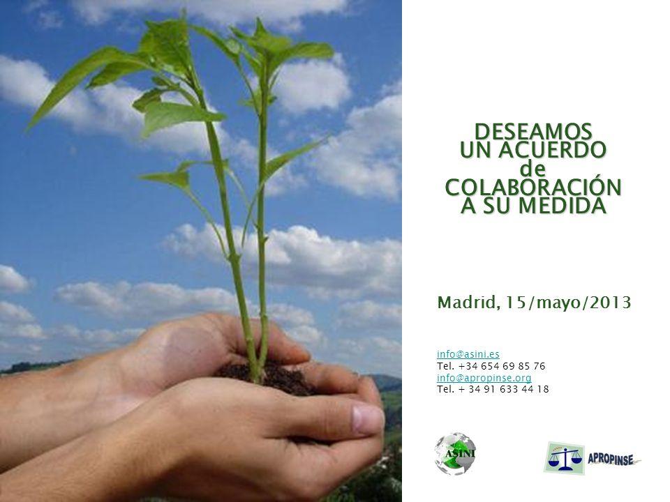 DESEAMOS UN ACUERDO deCOLABORACIÓN A SU MEDIDA Madrid, 15/mayo/2013 info@asini.es Tel. +34 654 69 85 76 info@apropinse.org Tel. + 34 91 633 44 18
