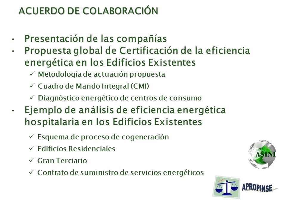 ACUERDO DE COLABORACIÓN Presentación de las compañías Propuesta global de Certificación de la eficiencia energética en los Edificios Existentes Ejempl