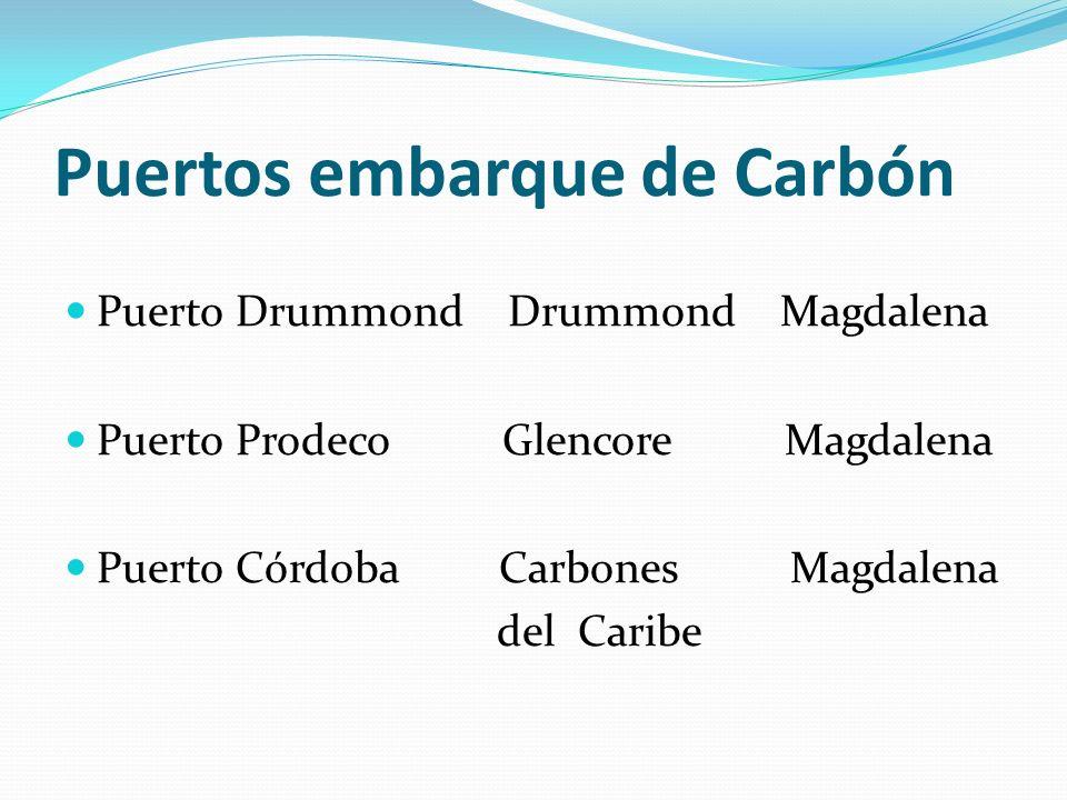 Puertos embarque de Carbón Puerto Drummond Drummond Magdalena Puerto Prodeco Glencore Magdalena Puerto Córdoba Carbones Magdalena del Caribe