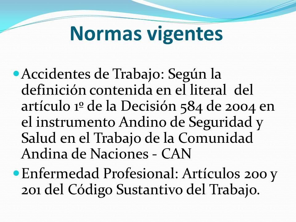 Normas vigentes Accidentes de Trabajo: Según la definición contenida en el literal del artículo 1º de la Decisión 584 de 2004 en el instrumento Andino