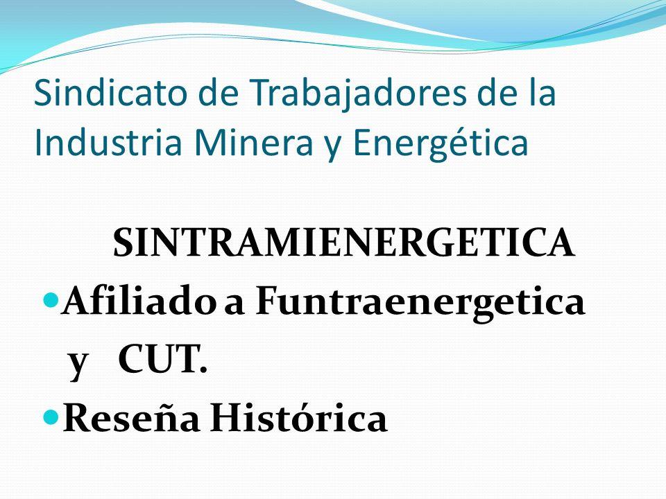 Sindicato de Trabajadores de la Industria Minera y Energética SINTRAMIENERGETICA Afiliado a Funtraenergetica y CUT. Reseña Histórica